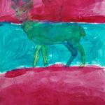 Peinture enfant cerf